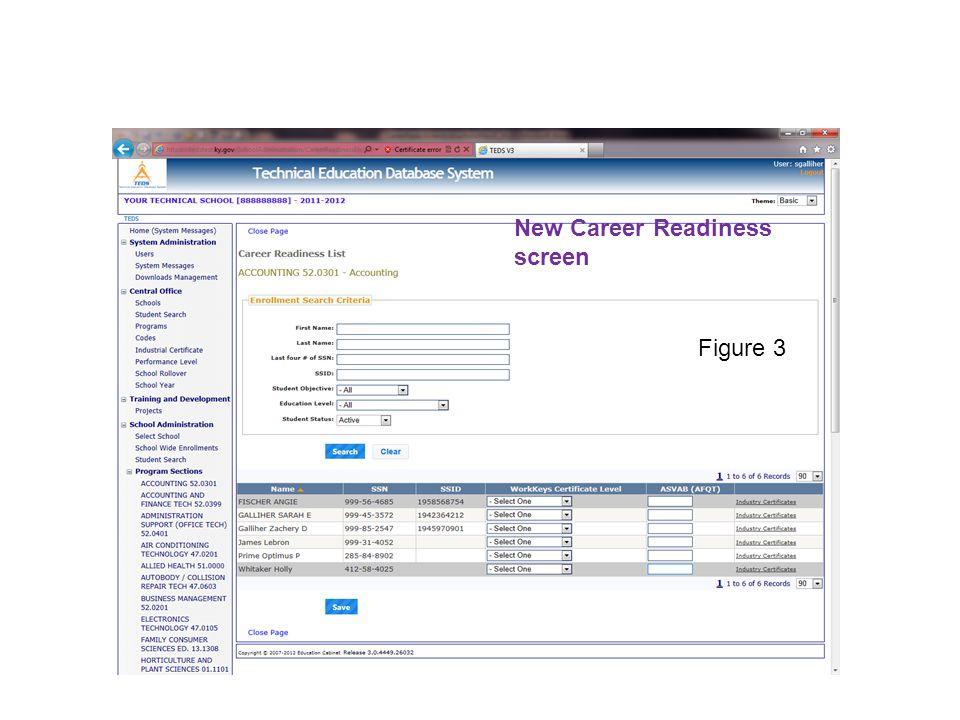 New Career Readiness screen