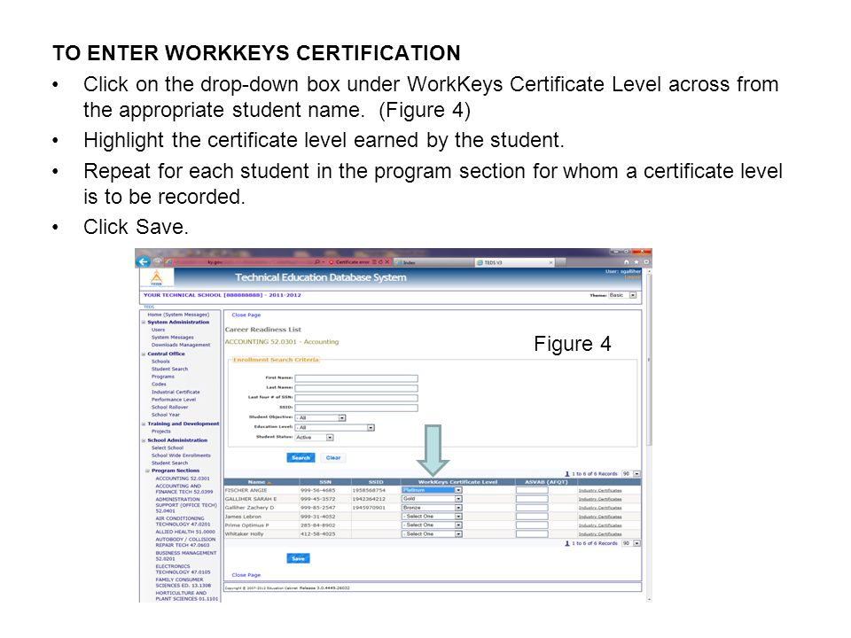 TO ENTER WORKKEYS CERTIFICATION