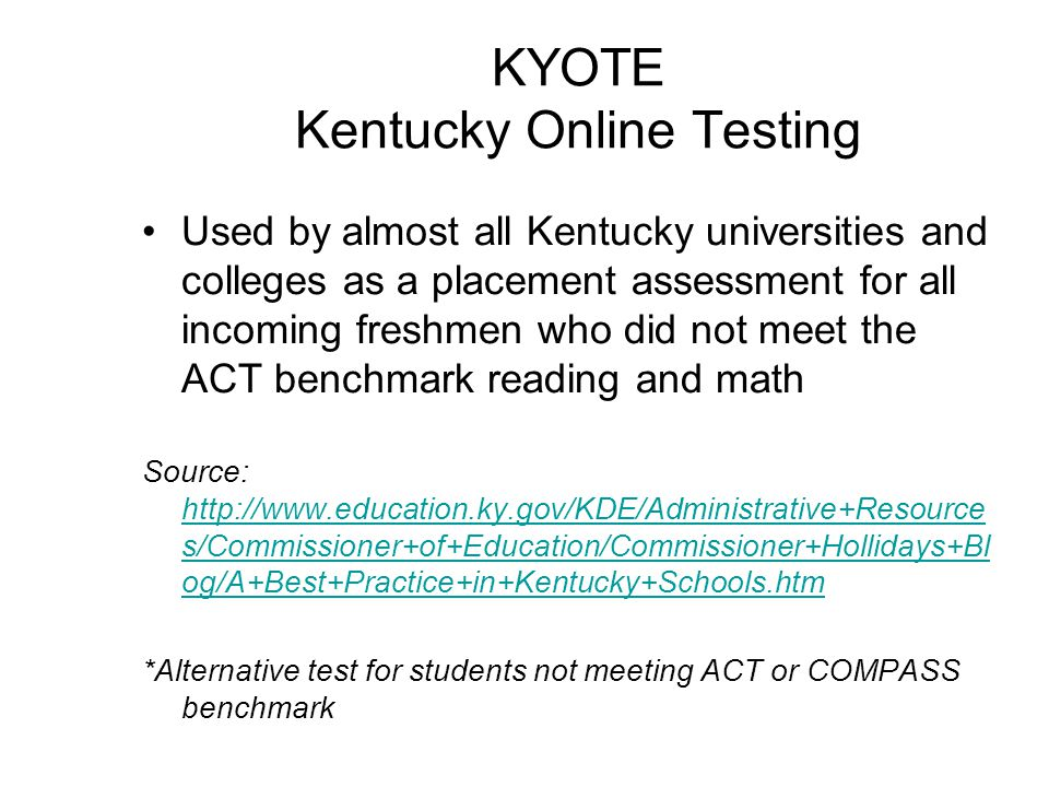 KYOTE Kentucky Online Testing