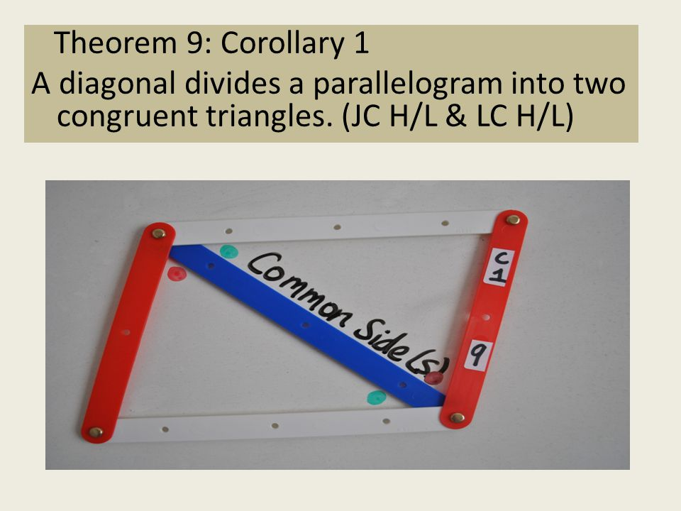 Theorem 9: Corollary 1 A diagonal divides a parallelogram into two congruent triangles.