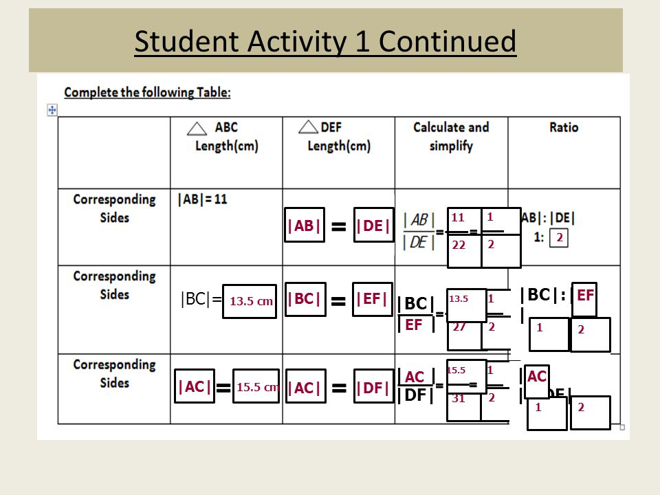 Student Activity 1 Continued
