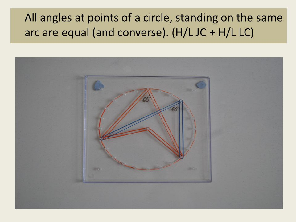 All angles at points of a circle, standing on the same arc are equal (and converse).