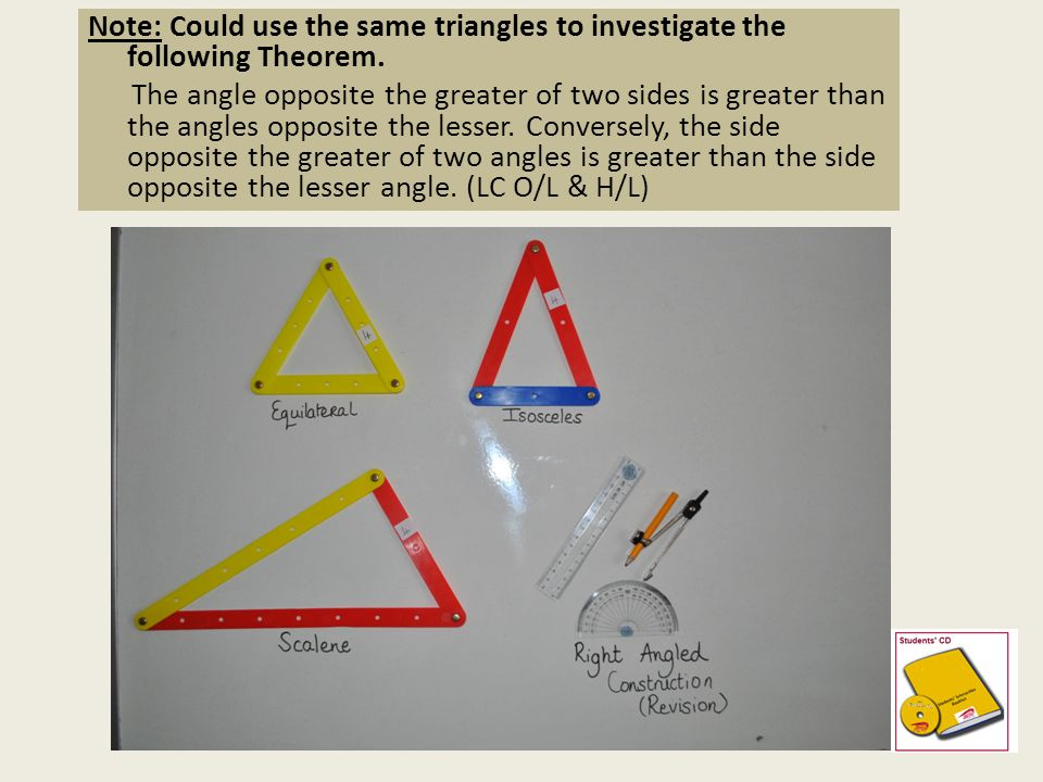*The angles in any triangle add to 180° (C.I.C) *Proof H/L JC