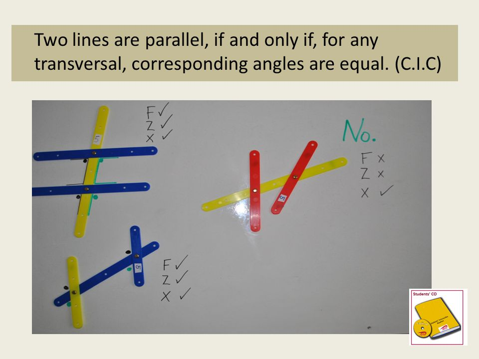 Two lines are parallel, if and only if, for any transversal, corresponding angles are equal. (C.I.C)