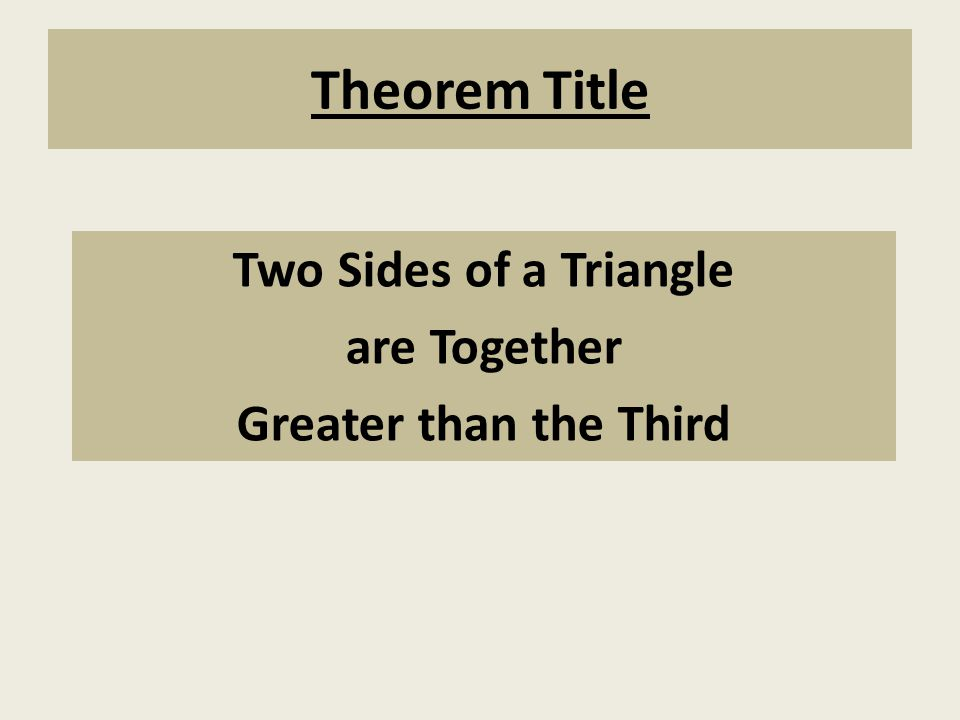 Two Sides of a Triangle are Together Greater than the Third