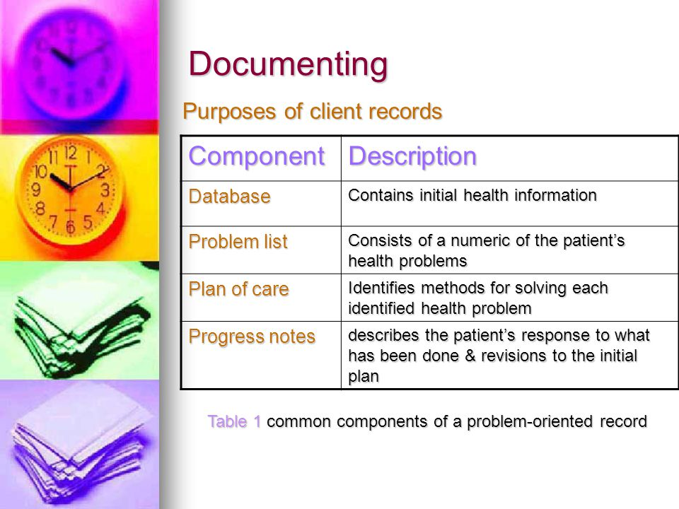 Documenting Component Description Purposes of client records Database