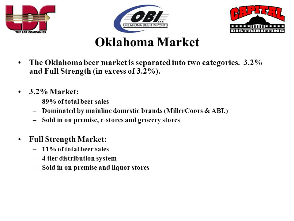 Oklahoma Market The Oklahoma beer market is separated into two categories. 3.2% and Full Strength (in excess of 3.2%).