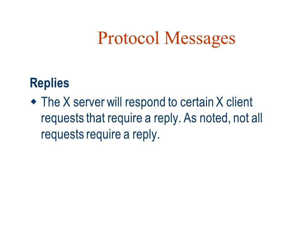 Protocol Messages Replies
