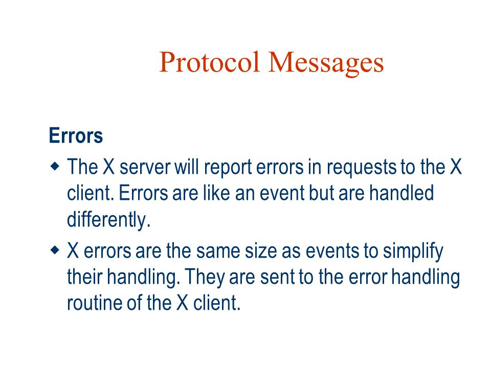 Protocol Messages Errors