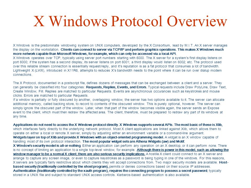 X Windows Protocol Overview
