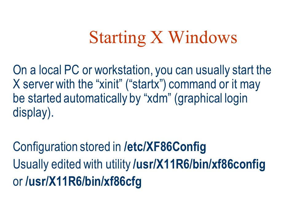 Starting X Windows