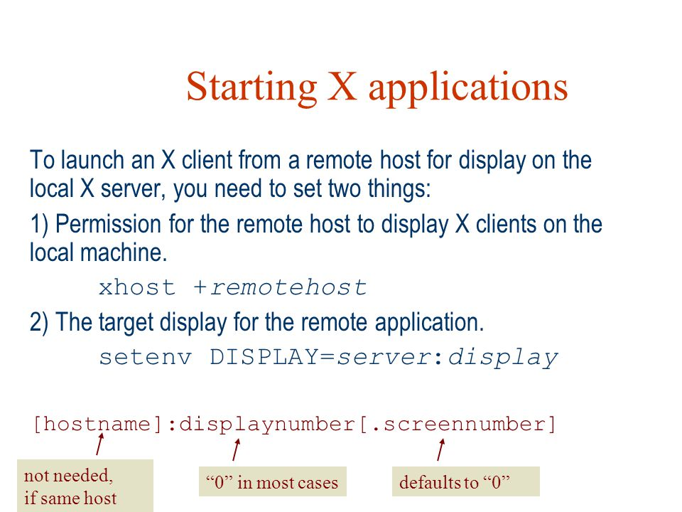 Starting X applications
