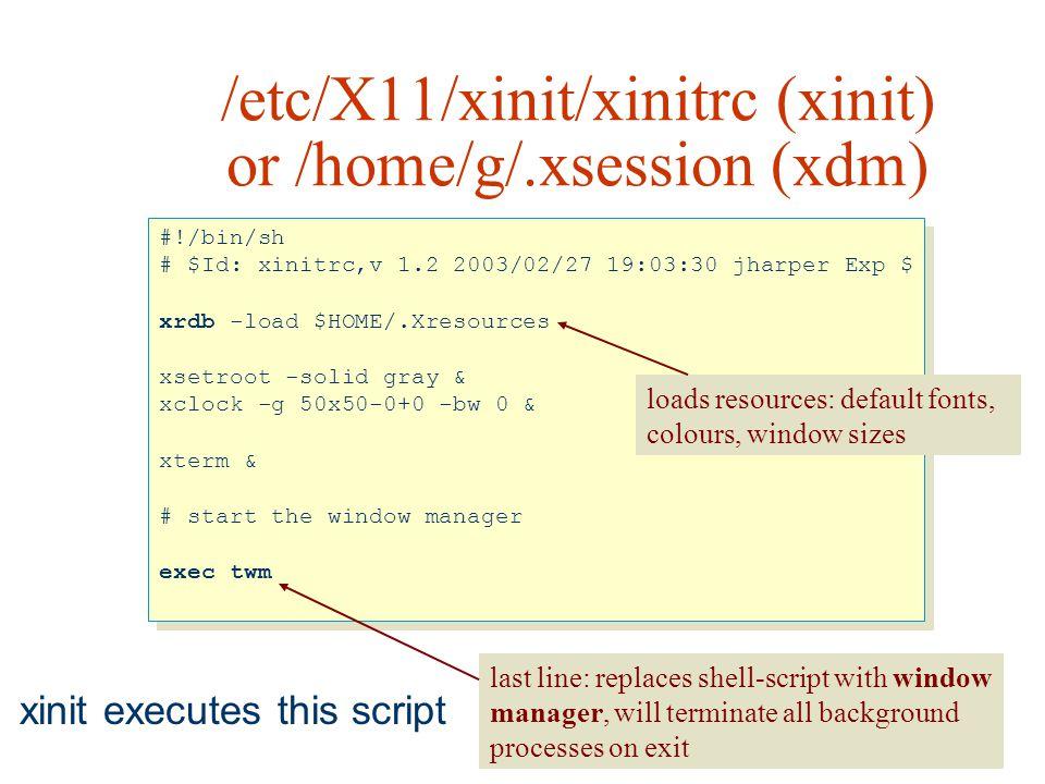 /etc/X11/xinit/xinitrc (xinit) or /home/g/.xsession (xdm)