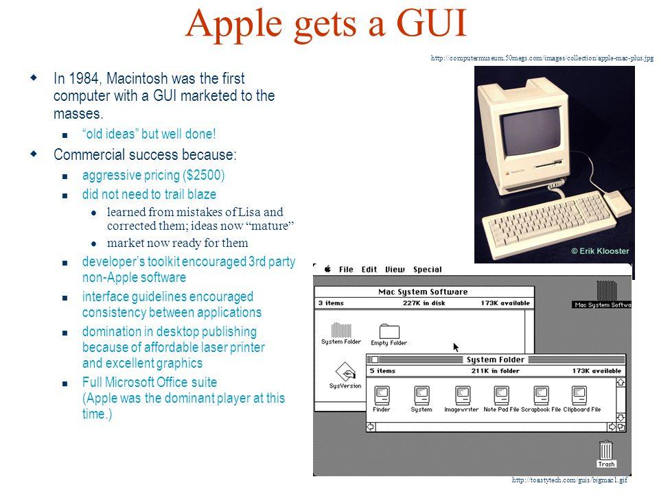 Apple gets a GUI http://computermuseum.50megs.com/images/collection/apple-mac-plus.jpg.