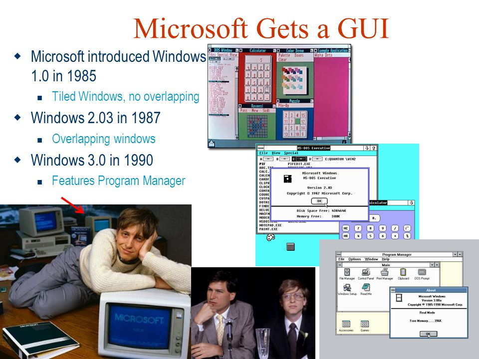 Microsoft Gets a GUI Microsoft introduced Windows 1.0 in 1985