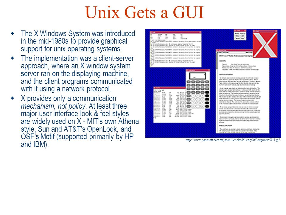 Unix Gets a GUI The X Windows System was introduced in the mid-1980s to provide graphical support for unix operating systems.