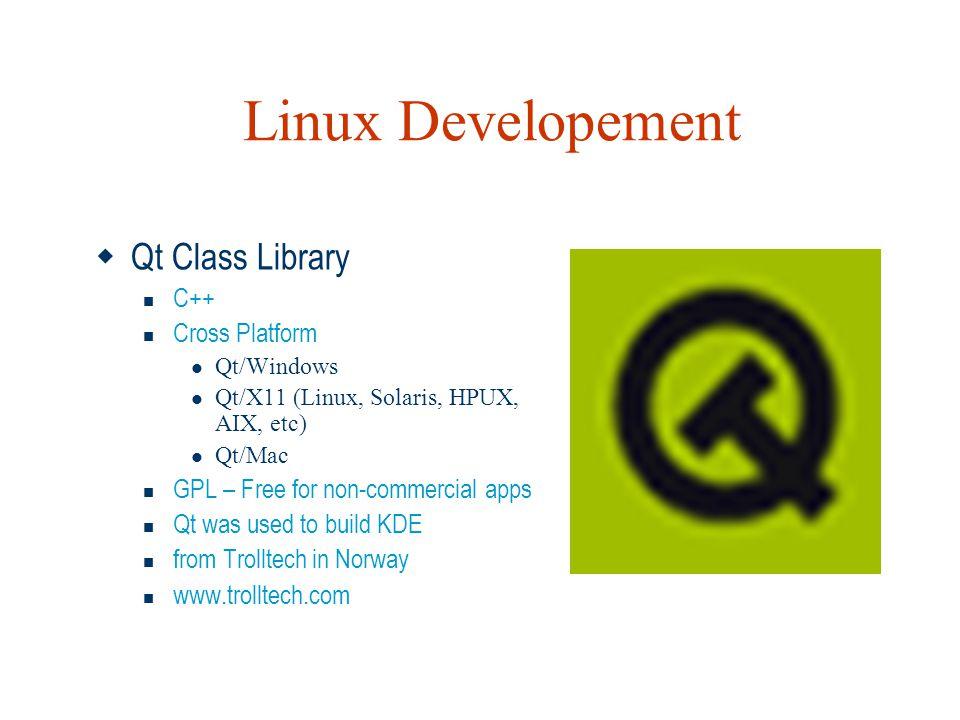 Linux Developement Qt Class Library C++ Cross Platform