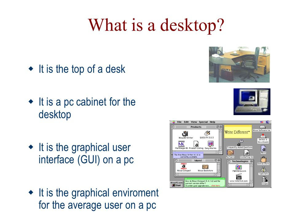 What is a desktop It is the top of a desk