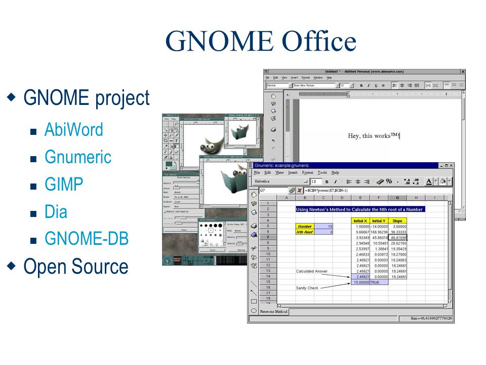 GNOME Office GNOME project Open Source AbiWord Gnumeric GIMP Dia