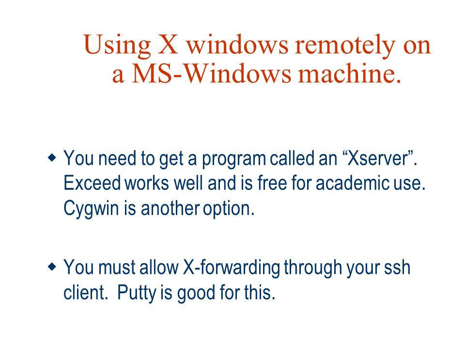 Using X windows remotely on a MS-Windows machine.