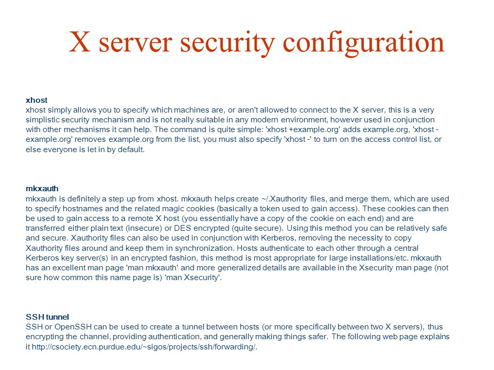 X server security configuration
