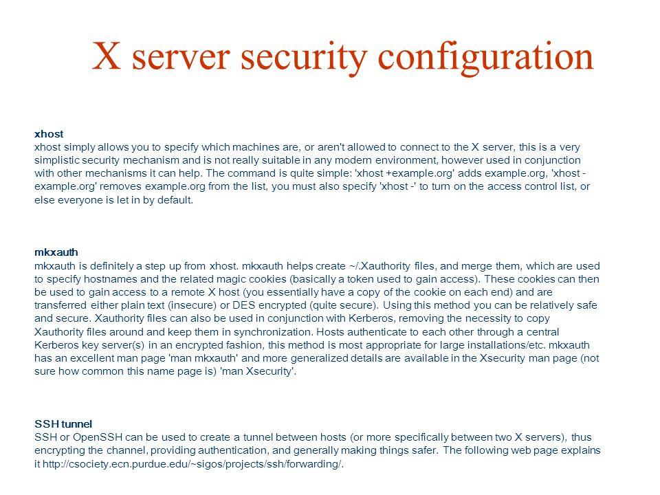 X server security configuration