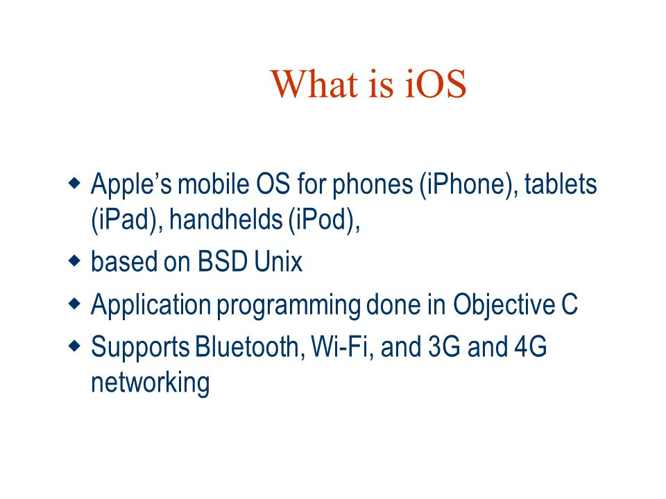 What is iOS Apple's mobile OS for phones (iPhone), tablets (iPad), handhelds (iPod), based on BSD Unix.
