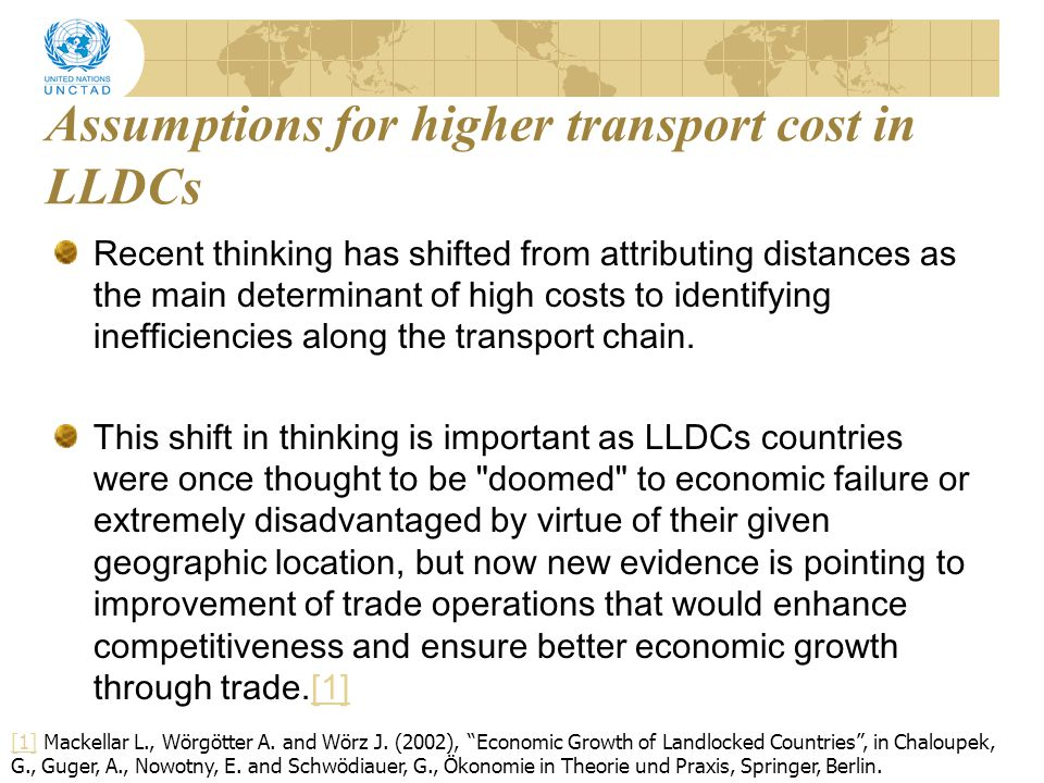 Assumptions for higher transport cost in LLDCs