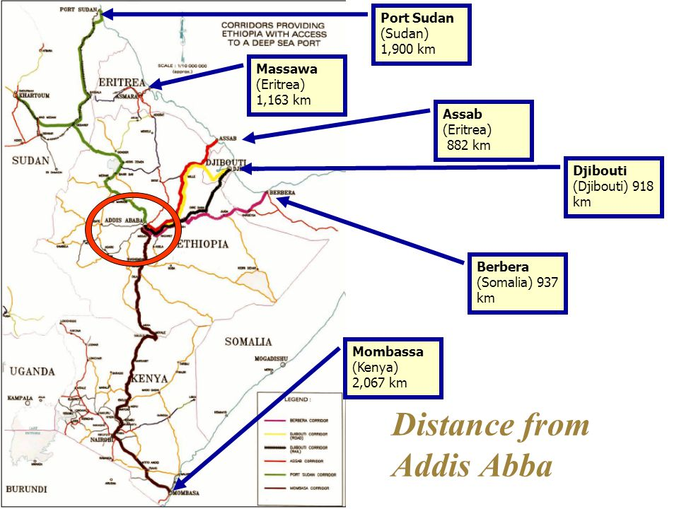 Distance from Addis Abba