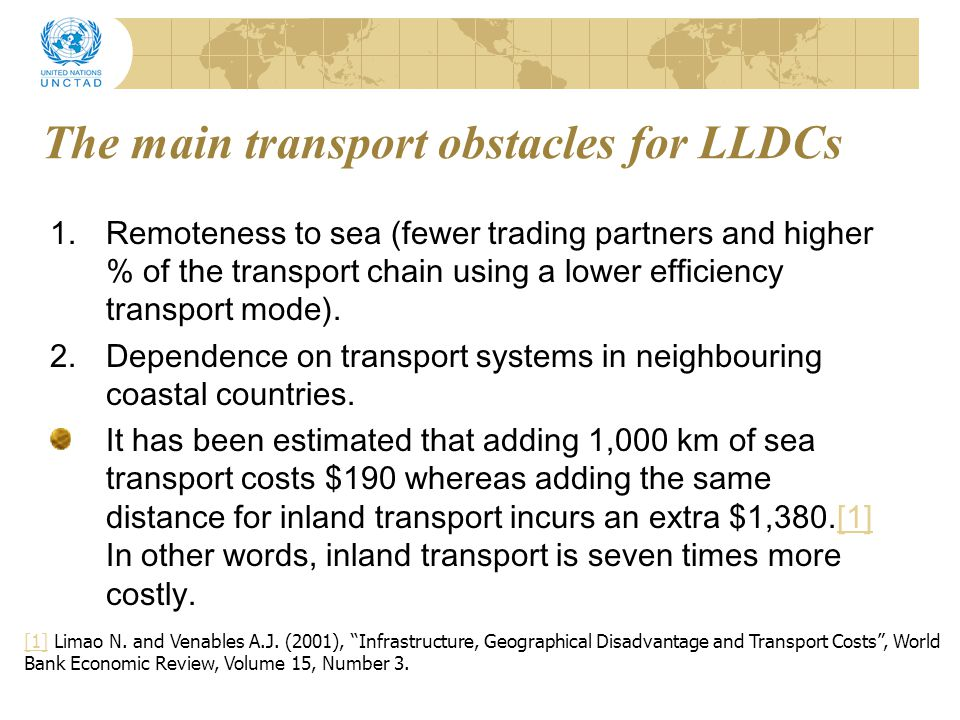 The main transport obstacles for LLDCs