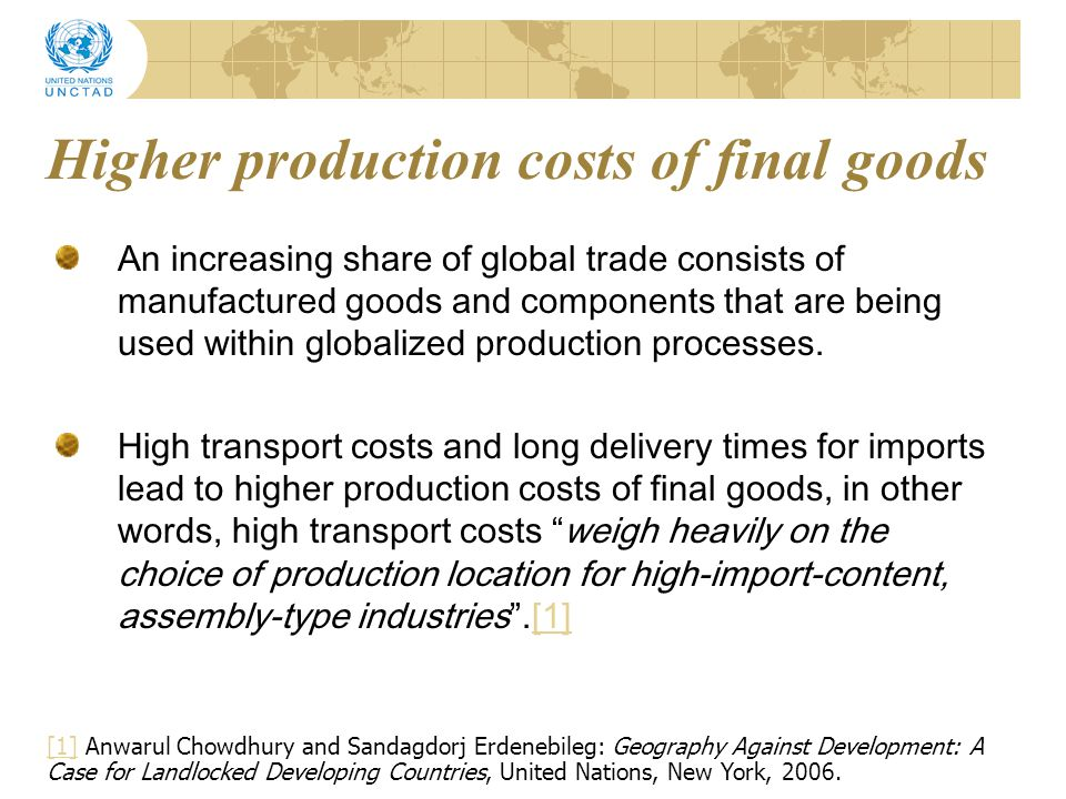 Higher production costs of final goods