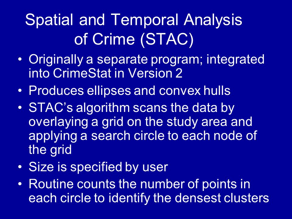 Spatial and Temporal Analysis of Crime (STAC)
