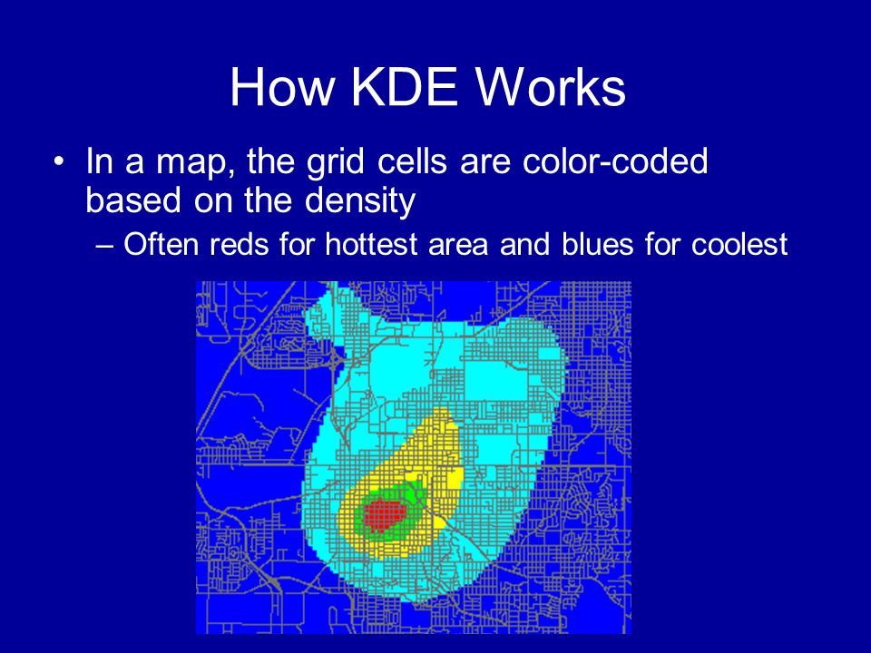 How KDE Works In a map, the grid cells are color-coded based on the density.