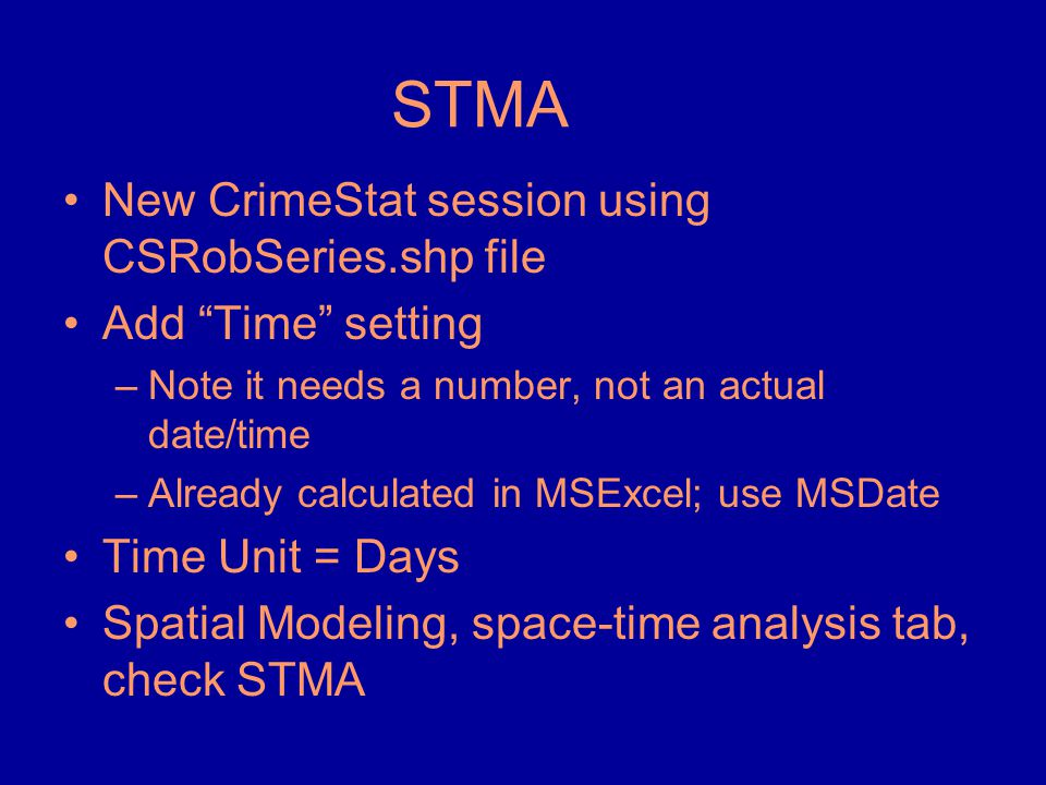 STMA New CrimeStat session using CSRobSeries.shp file