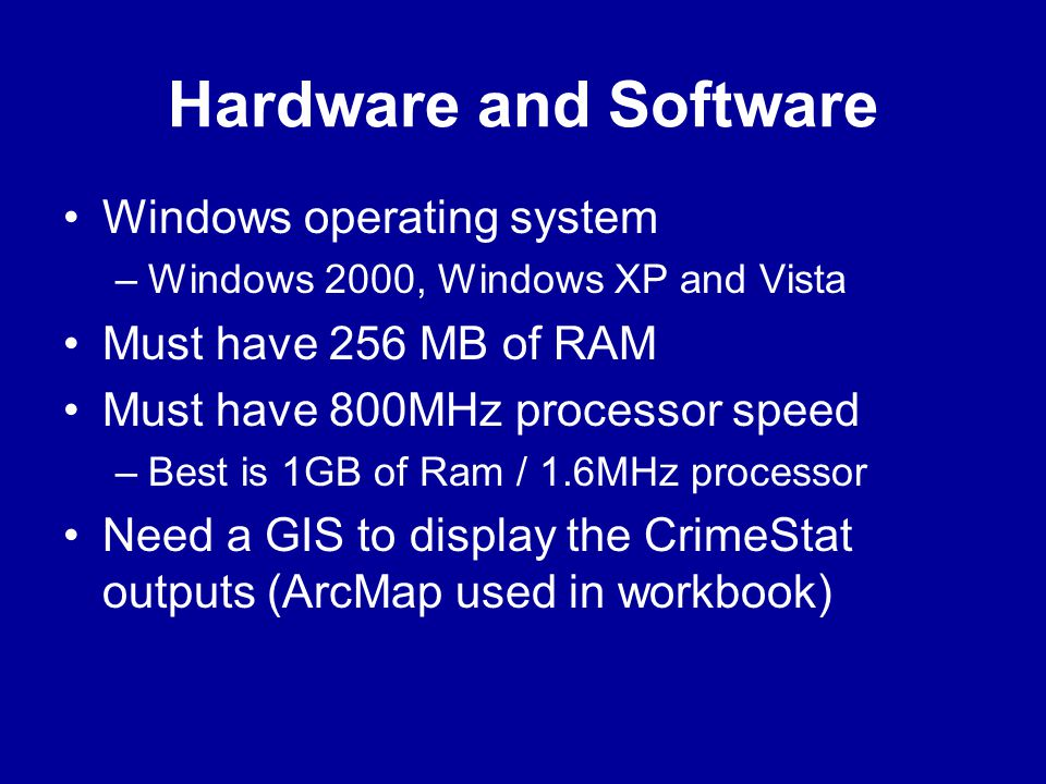Hardware and Software Windows operating system Must have 256 MB of RAM