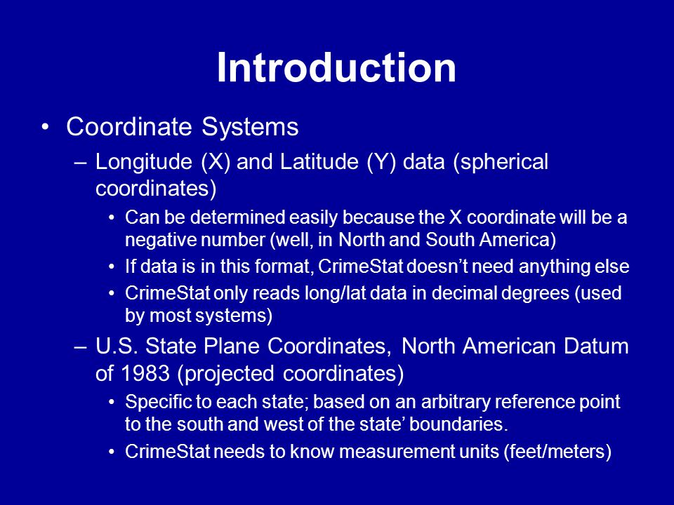 Introduction Coordinate Systems