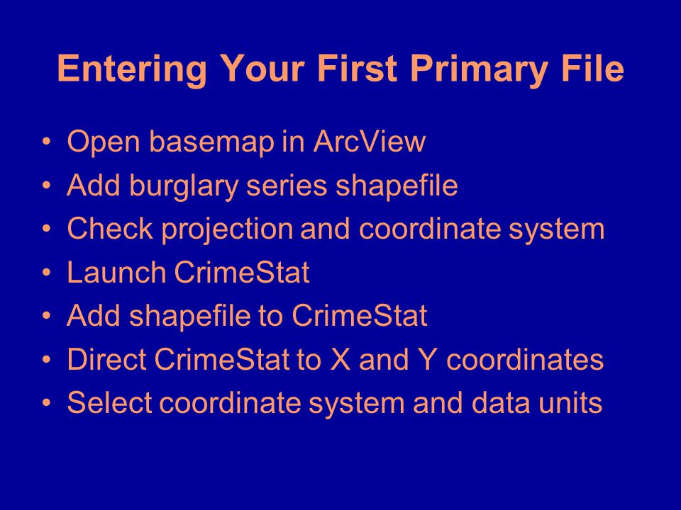 Entering Your First Primary File