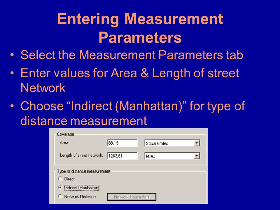 Entering Measurement Parameters