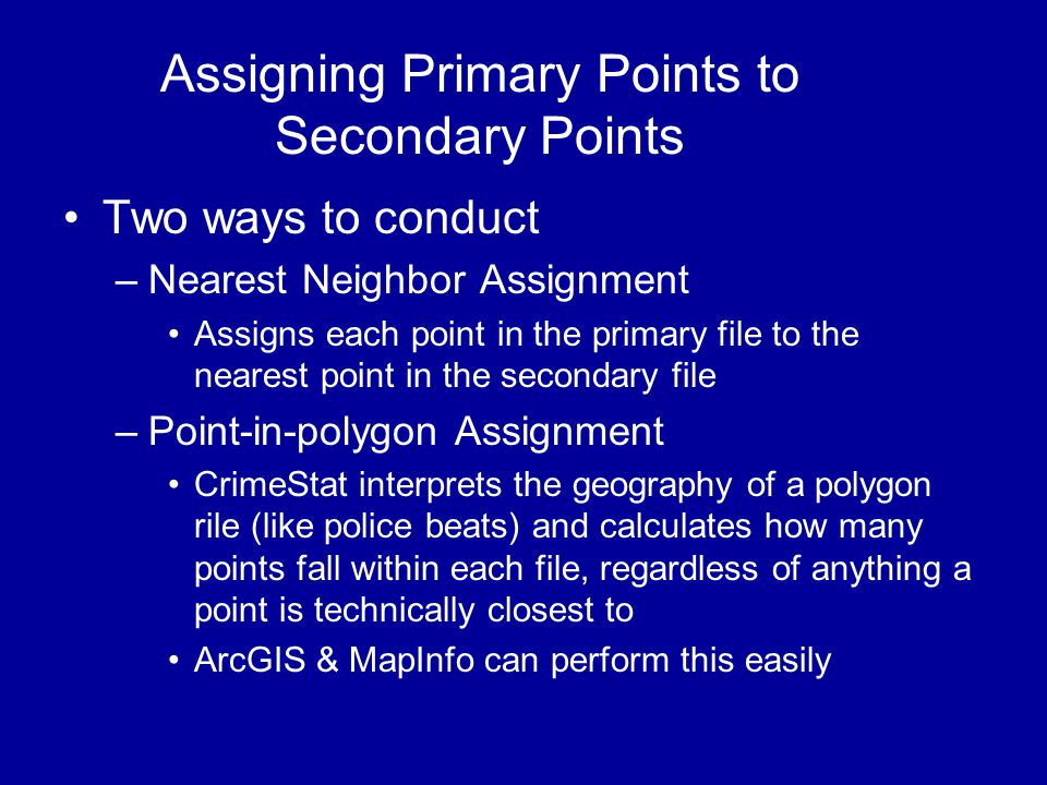 Assigning Primary Points to Secondary Points