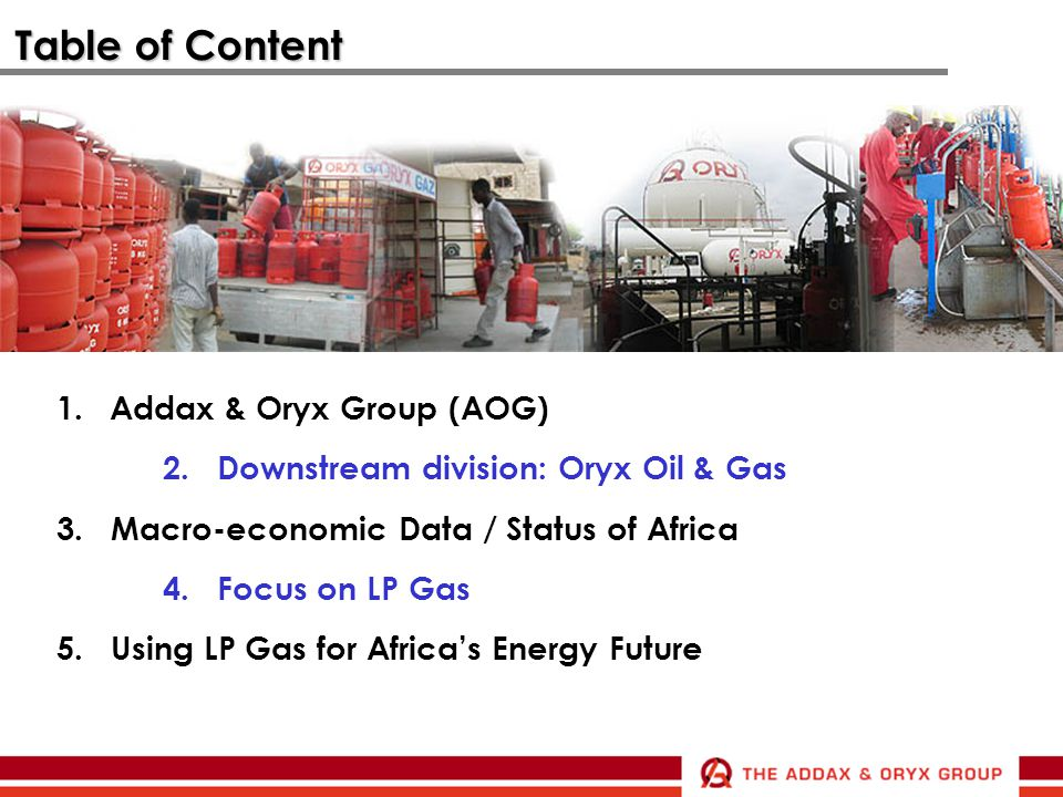 Table of Content Addax & Oryx Group (AOG)