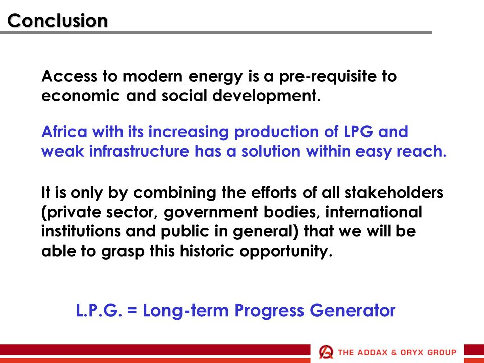 Conclusion L.P.G. = Long-term Progress Generator