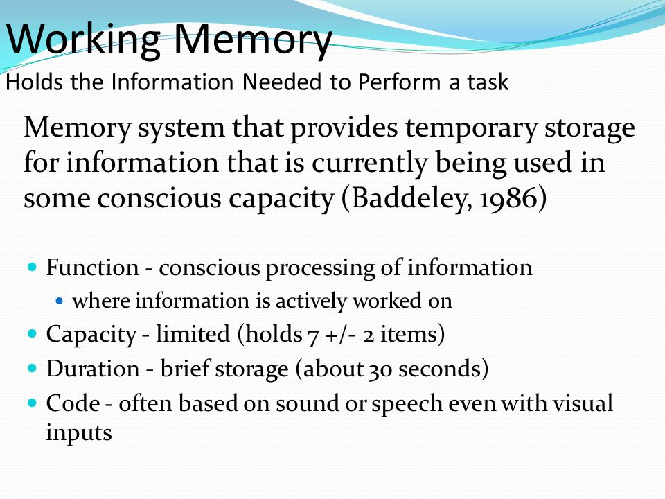 Working Memory Holds the Information Needed to Perform a task