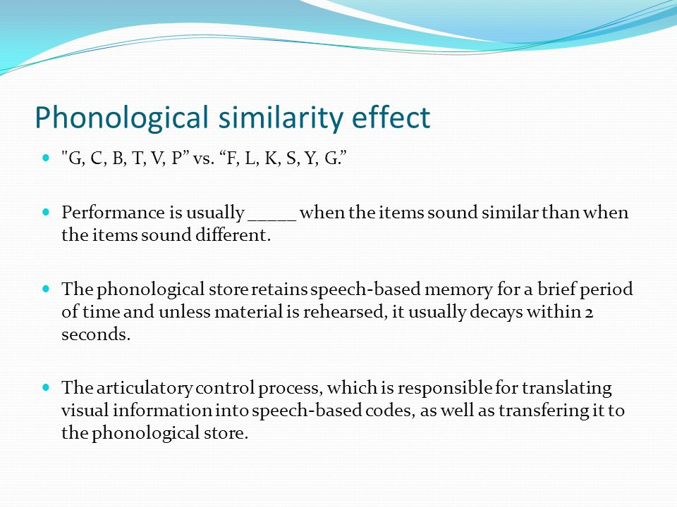 Phonological similarity effect