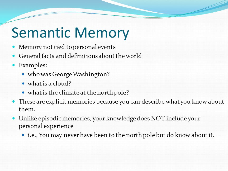 implicit memory which is also known as non declarative memory Implicit and explicit long-term memory represent different ways of remembering   it takes a lot of work and effort to commit information to memory  details, and  experiences enter our memory with little or no effort  information that you have  to consciously work to remember is known as explicit memory,.