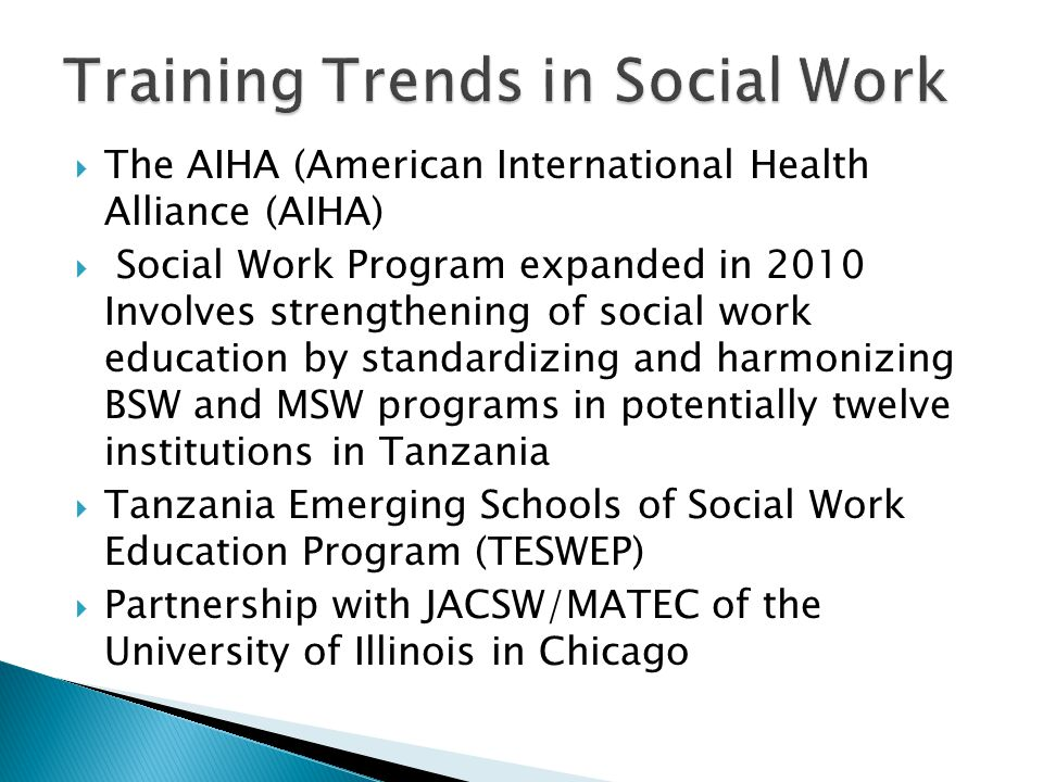 Training Trends in Social Work