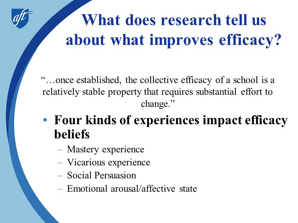 What does research tell us about what improves efficacy