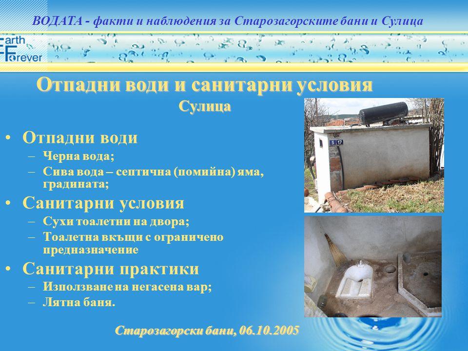 Отпадни води и санитарни условия Сулица