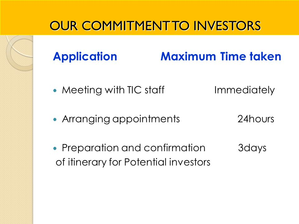 OUR COMMITMENT TO INVESTORS