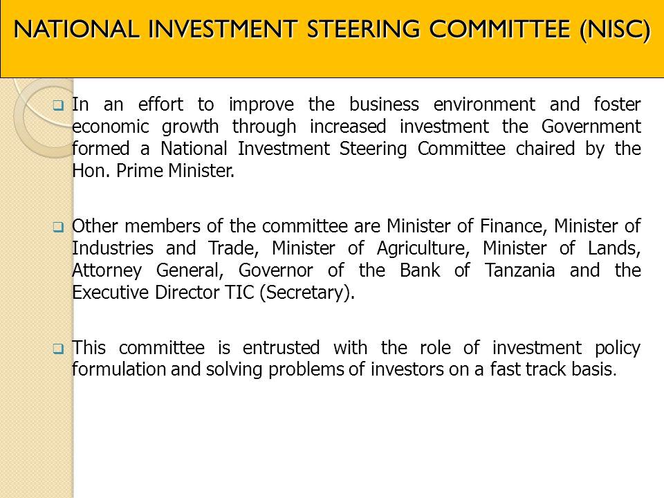 NATIONAL INVESTMENT STEERING COMMITTEE (NISC)