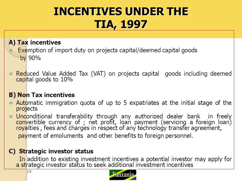 INCENTIVES UNDER THE TIA, 1997